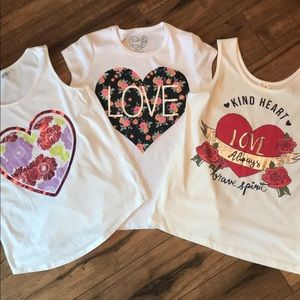 Bundle of 3 Heart themed tops, mixed brands, 12-14